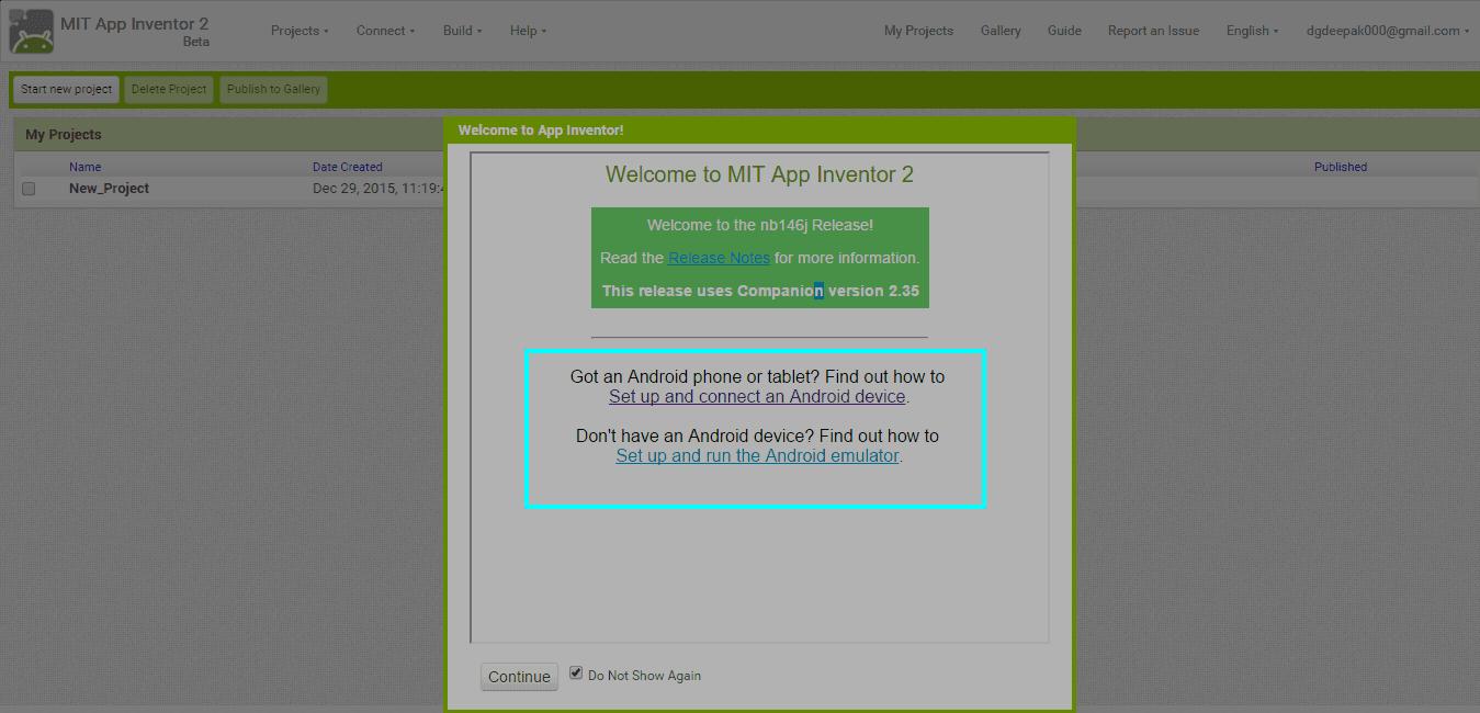 MIT App Inventor 2 Setup 2
