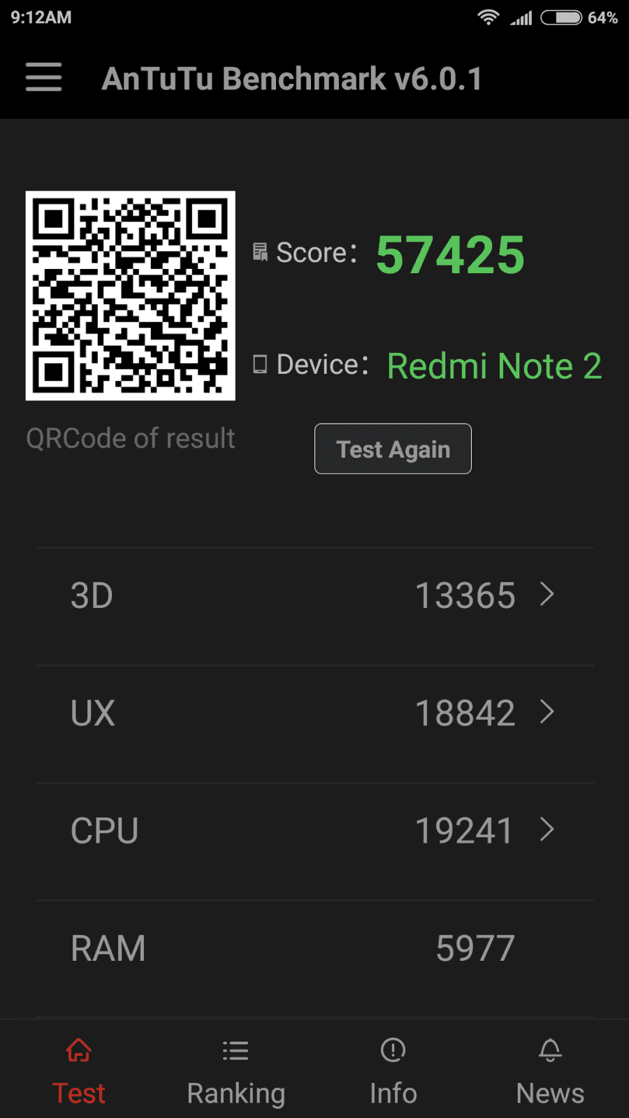 antutu benchmark- Redmi Note 2 performance