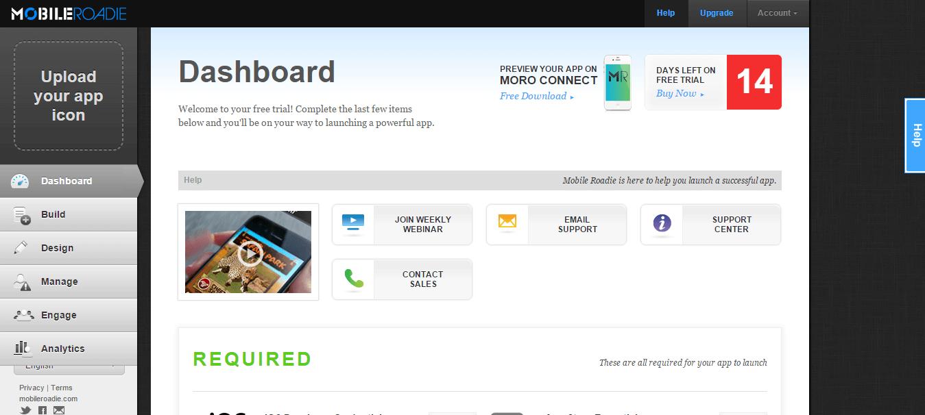Mobile Roadie - Dashboard
