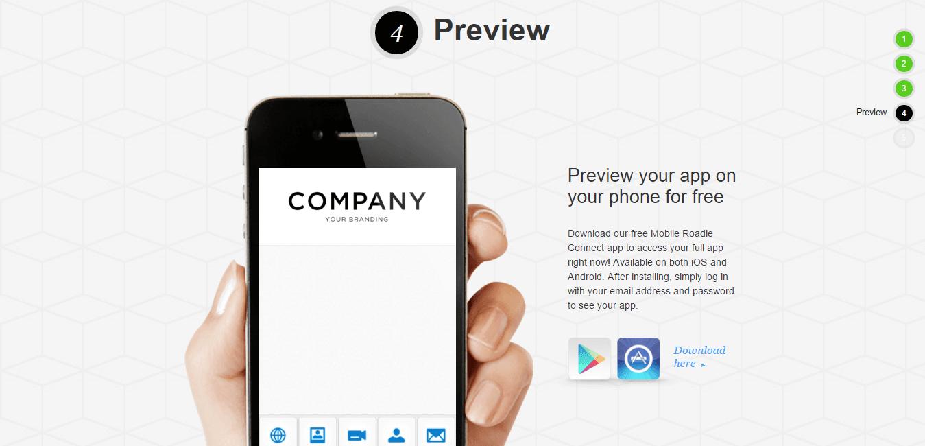 Mobile Roadie Preview app