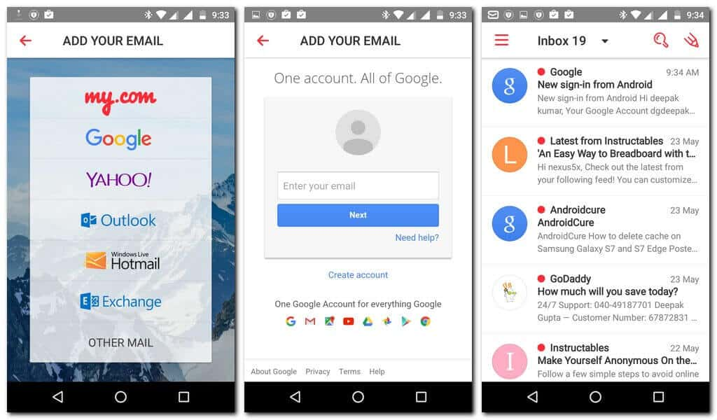 Mymail Android app