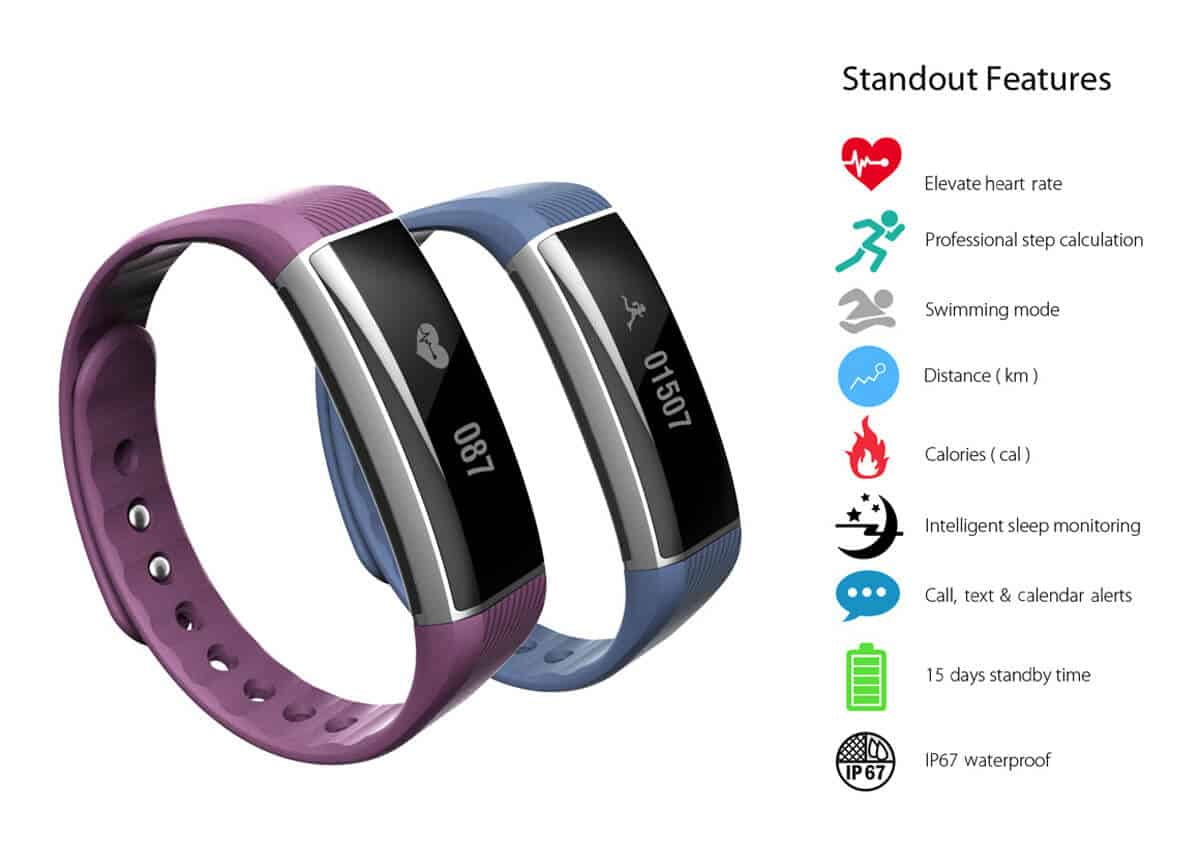 ZeBand BLE 4.0 Heart Rate Monitor Smart Wristband features