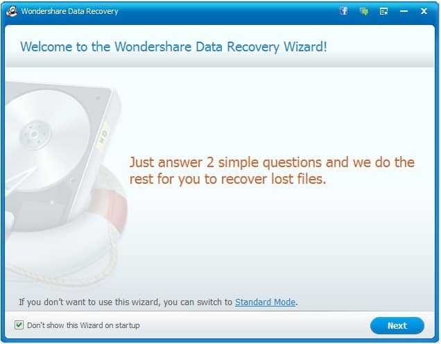 Wondershare Data Recovery two steps wizard