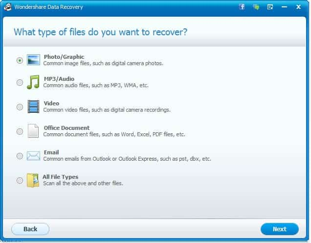 wondershare data recovery wizard file type