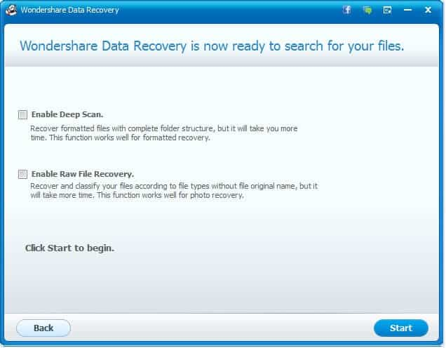 wondershare data recovery wizard scan type