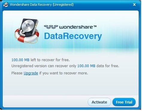 wondershare data recovery free version