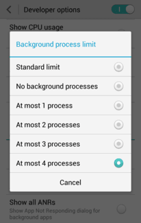 Background process limit on Samsung galaxy phones