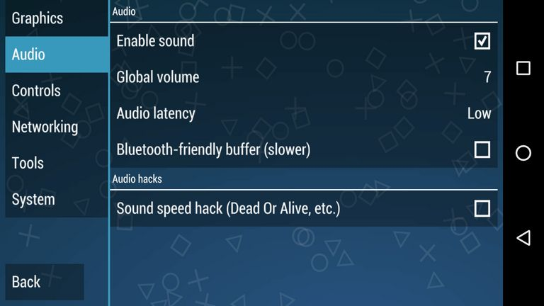 Audio settings PPSSPP