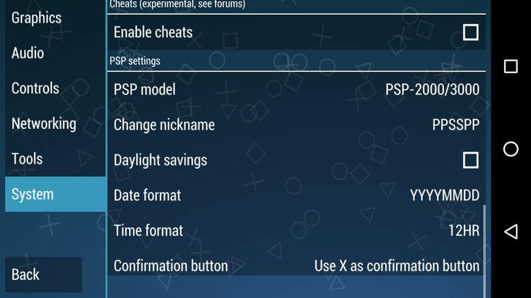 psp model settings