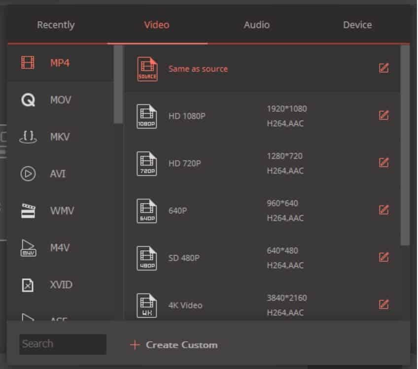 VCU video audio output format