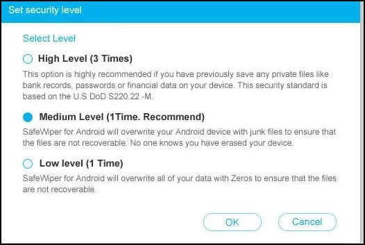 Select Security Level