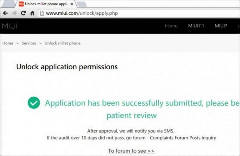 unlocking application mi 7