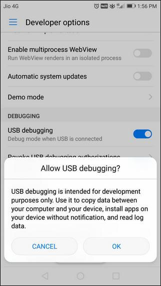 Enable Developer Options/USB Debugging on Huawei P20