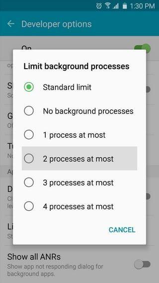 Limit Background Process Samsung Galaxy S5