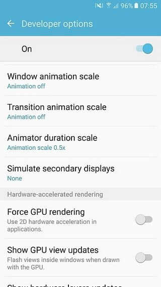 Reduce animations on Galaxy S5 to Speed up