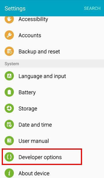 Enable Developer Options Galaxy S6