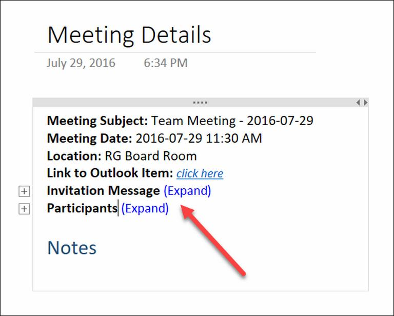 Arrange Meetings using OneNote