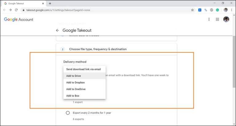 Delivery Method Choose Google Drive