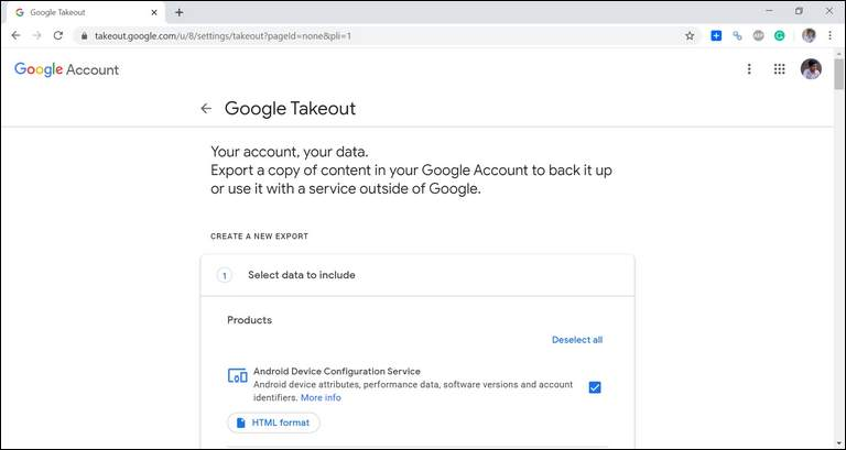 open google takeout page