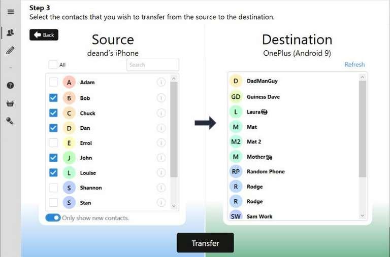 Contact Transfer app
