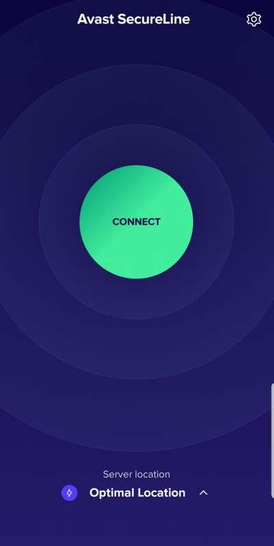 Avast VPN app user interface