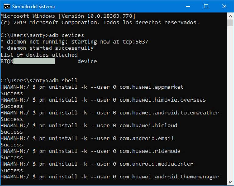 adb command prompt to disable apps on Huawei smartphones
